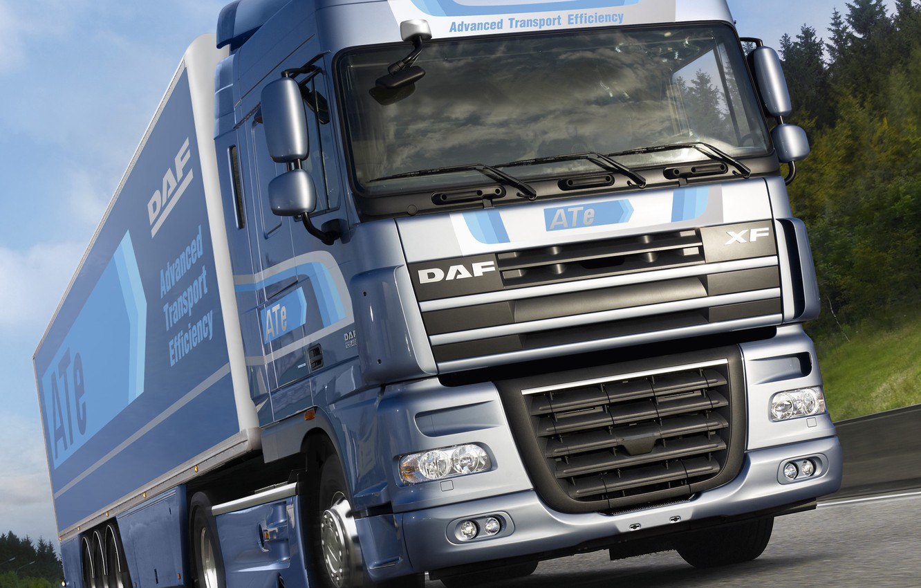 Photo wallpaper the sky, clouds, trees, movement, track, DAF, tractor, DAF, Space Cab, gray-blue, the trailer, 4x2, …