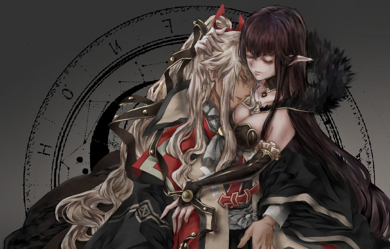Photo wallpaper girl, cleavage, boobs, anime, hug, elf, artwork, feeling, symbols, anime girl, pointy ears, Fate/Apocrypha, Fate …