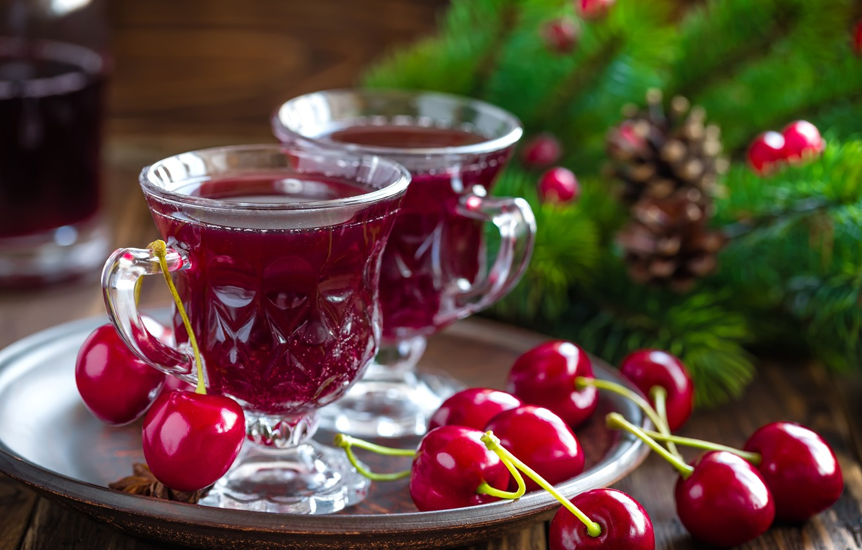 Photo wallpaper cherry, berries, drink