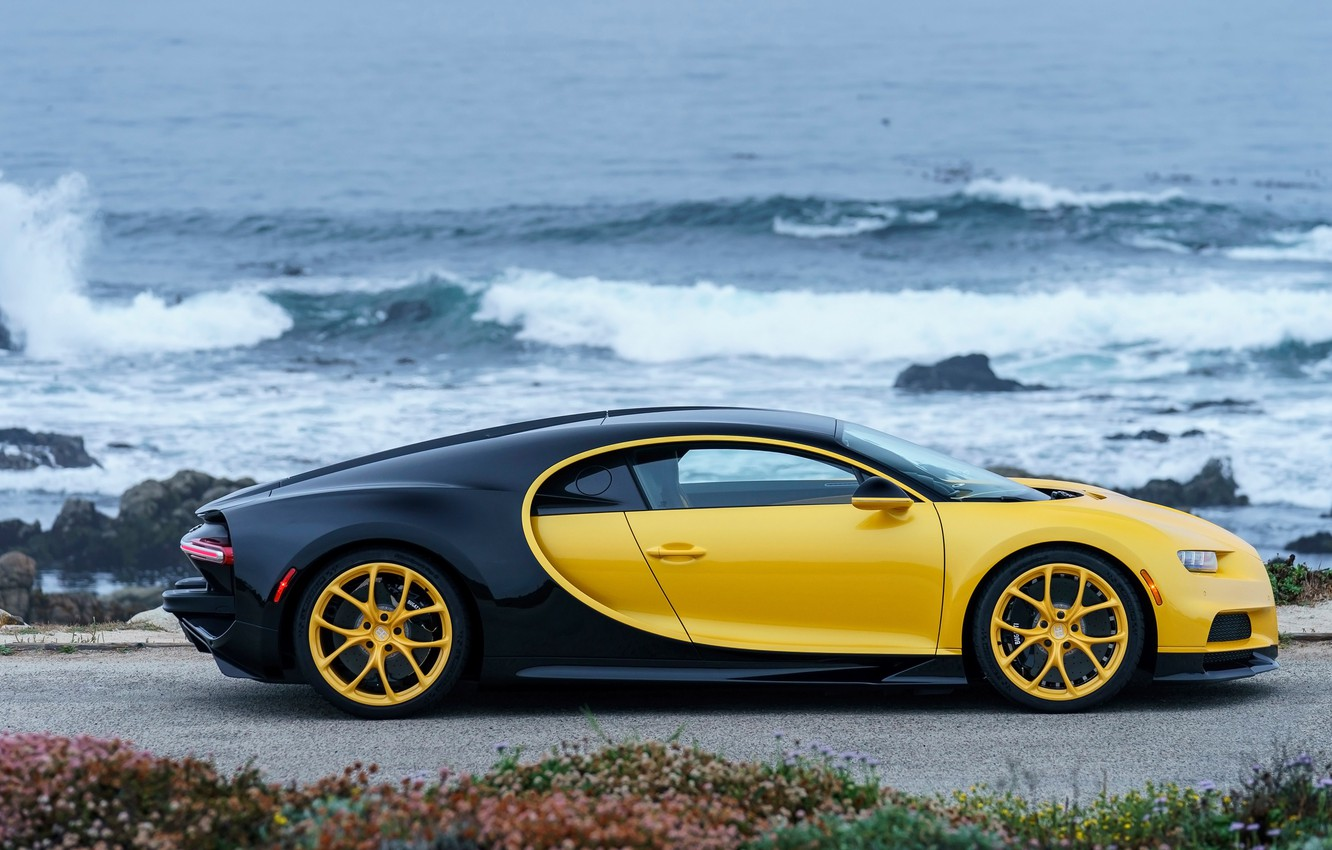 Photo wallpaper coast, Bugatti, 2018, Chiron, Yellow and Black