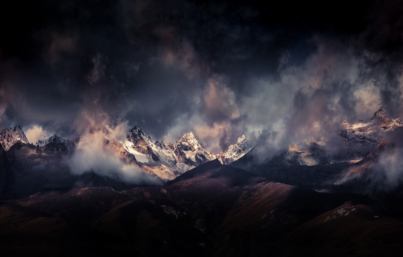 Photo wallpaper clouds, mountains, clouds, The Himalayas