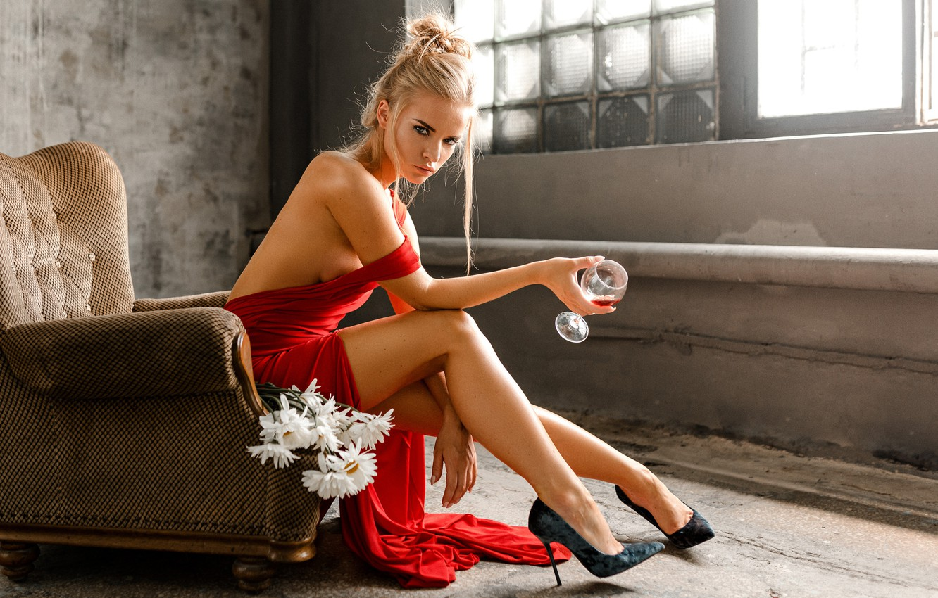 Photo wallpaper look, girl, flowers, pose, mood, feet, glass, chamomile, chair, shoes, red dress, Svetlana, Eugene Marklew