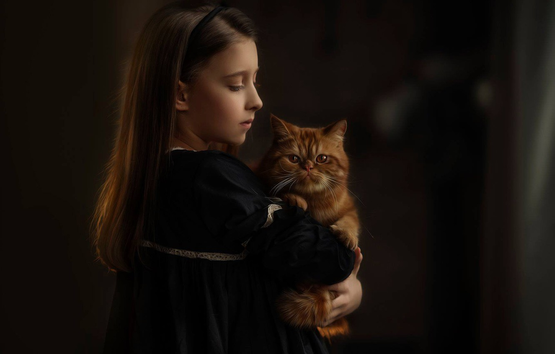 Photo wallpaper portrait, girl, red cat