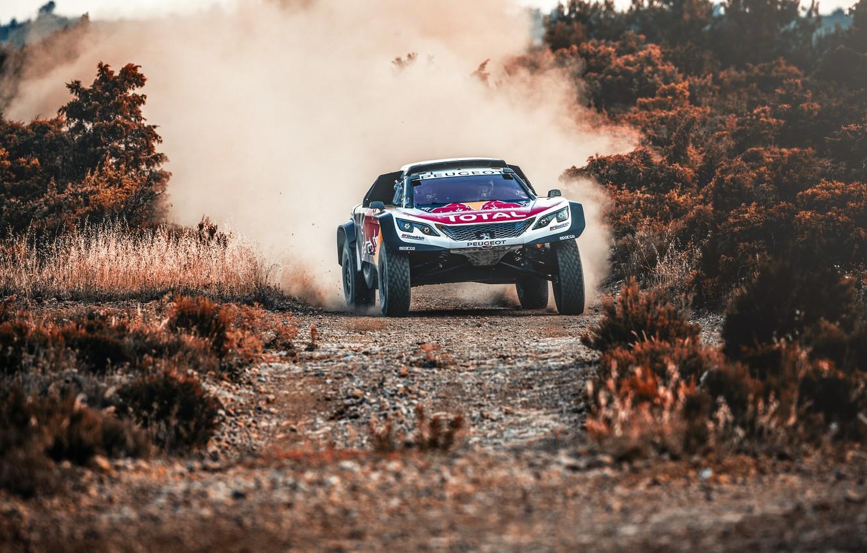 Photo wallpaper Auto, Dust, Sport, Machine, Speed, Race, Peugeot, Lights, Red Bull, Rally, Dakar, Dakar, SUV, Rally, …
