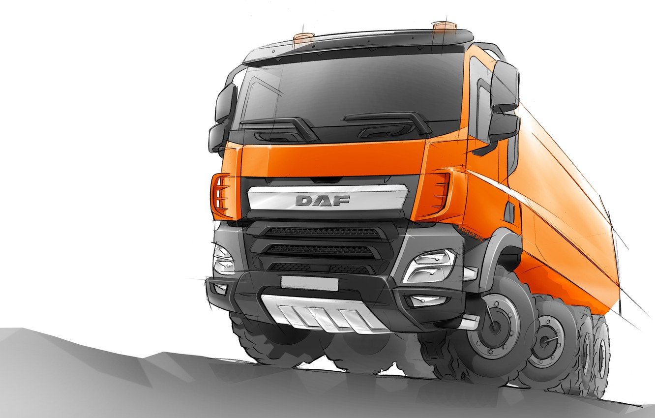 Photo wallpaper orange, figure, sketch, DAF, the sketch, DAF, dump truck, 8x4, DAF CF