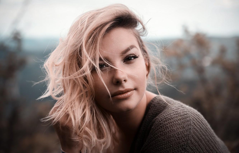 Photo wallpaper girl, portrait, makeup, hairstyle, blonde, beautiful, bokeh, jumper, André Eversloh Fotografie, Corinna Brown