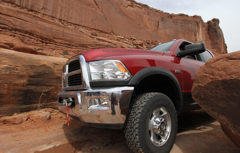 Photo wallpaper rocks, SUV, Dodge, pickup, Ram