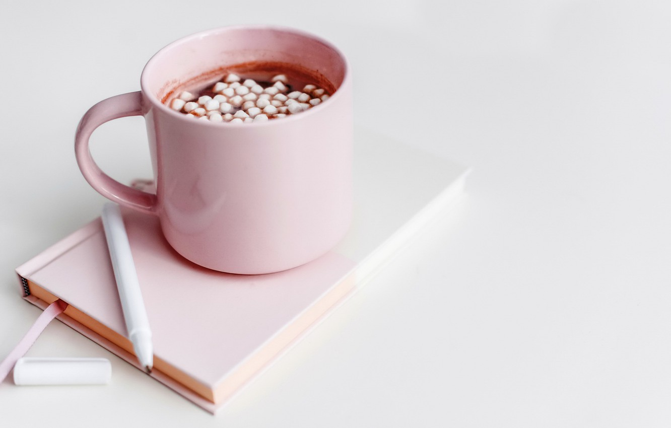 Photo wallpaper mug, Cup, hot, chocolate, cocoa, marshmallow, marshmallows