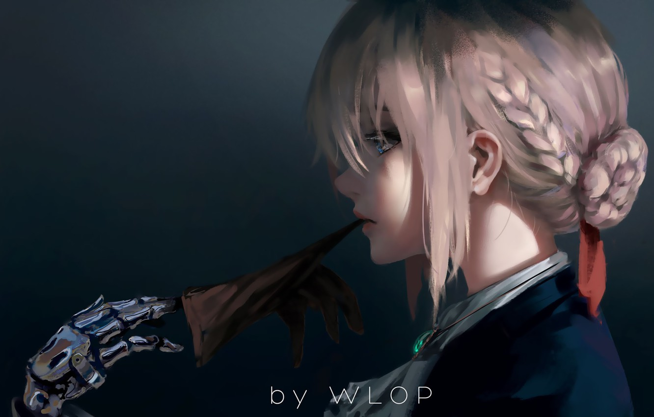 Photo wallpaper girl, fantasy, anime, blue eyes, blonde, digital art, artwork, braids, glove, anime girl, Wlop, Fate ...
