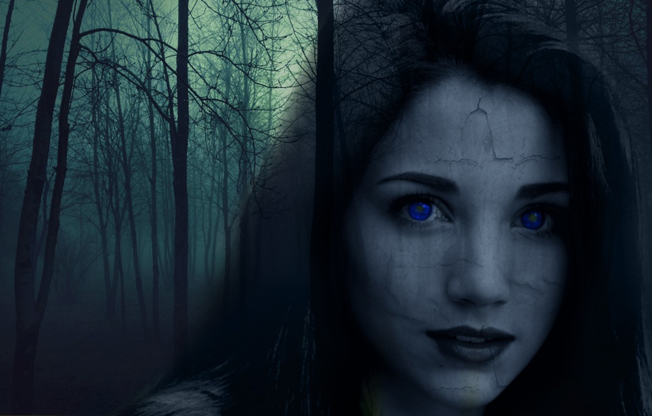 Wallpaper Forest Girl The Darkness Cast Ghost Horror Blue Eyes