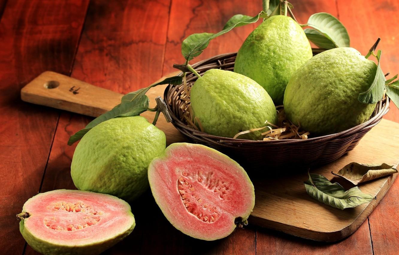 Photo wallpaper Board, in the basket, guava