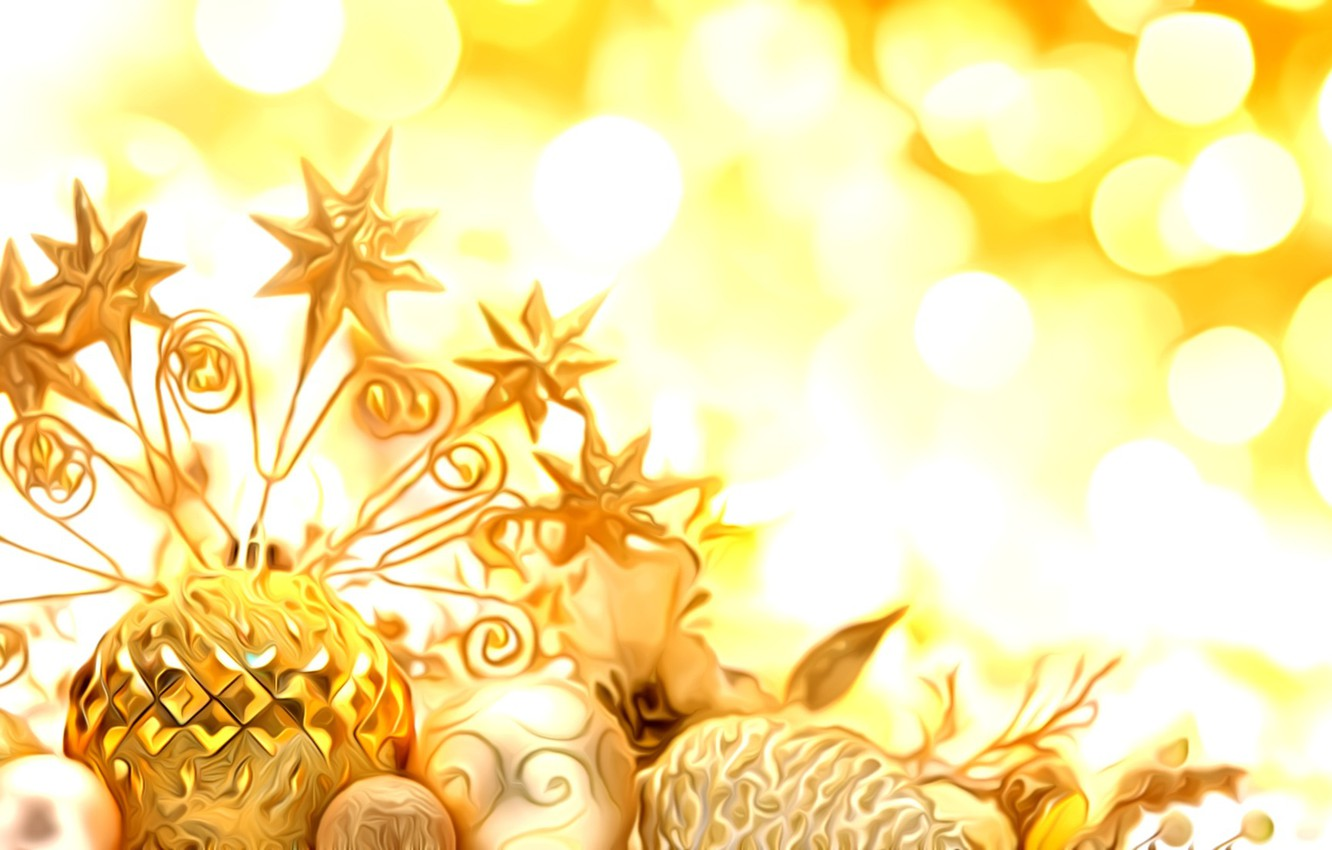 Photo wallpaper light, glare, rendering, holiday, treatment, New Year, Christmas decorations, gold jewelry