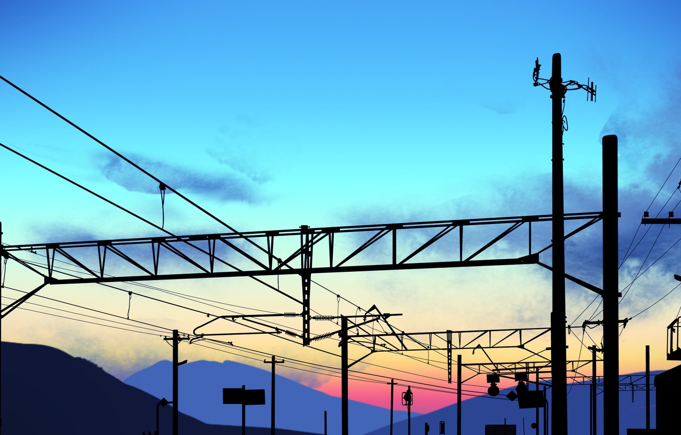 Photo wallpaper the sky, sunset, power lines