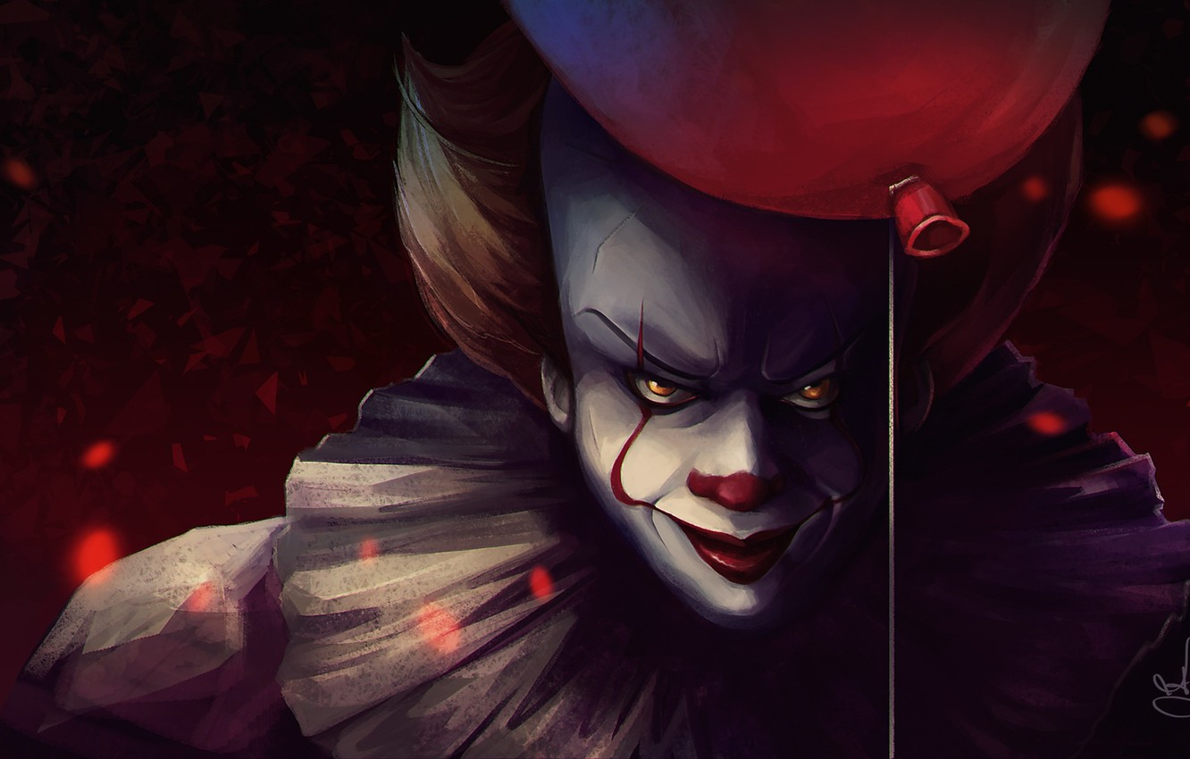 Photo wallpaper the film, clown, the demon, a balloon, It, Pennywise