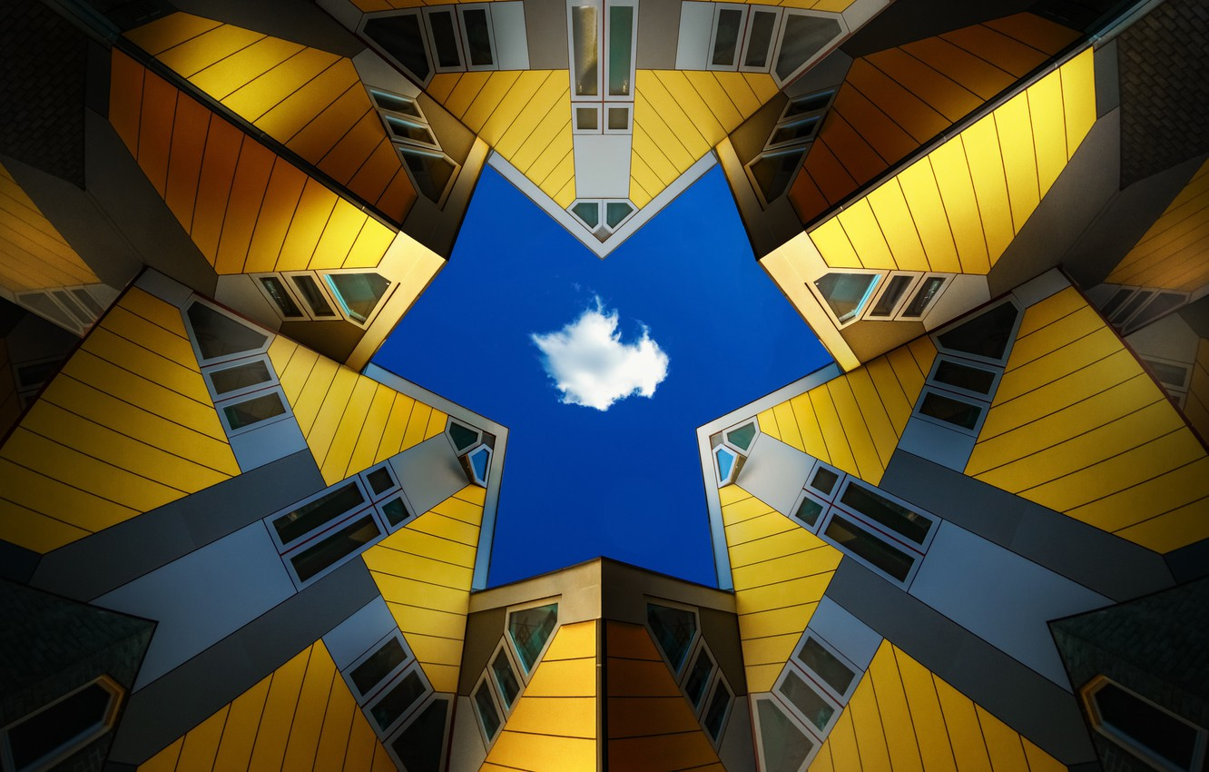 Photo wallpaper the sky, the city, cloud, Netherlands, Architecture