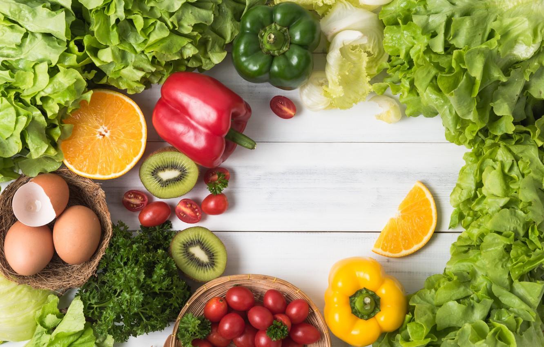 Photo wallpaper greens, Vegetables, fruit, citrus