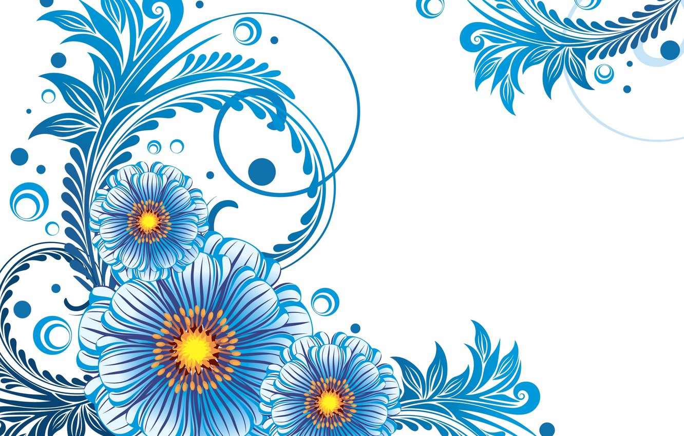 Photo wallpaper flowers, pattern, texture, white background