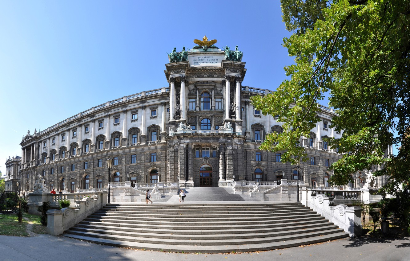 Photo wallpaper trees, Austria, lights, ladder, architecture, Sunny, statues, Palace, Vienna, Imperial Palace, Hofburg