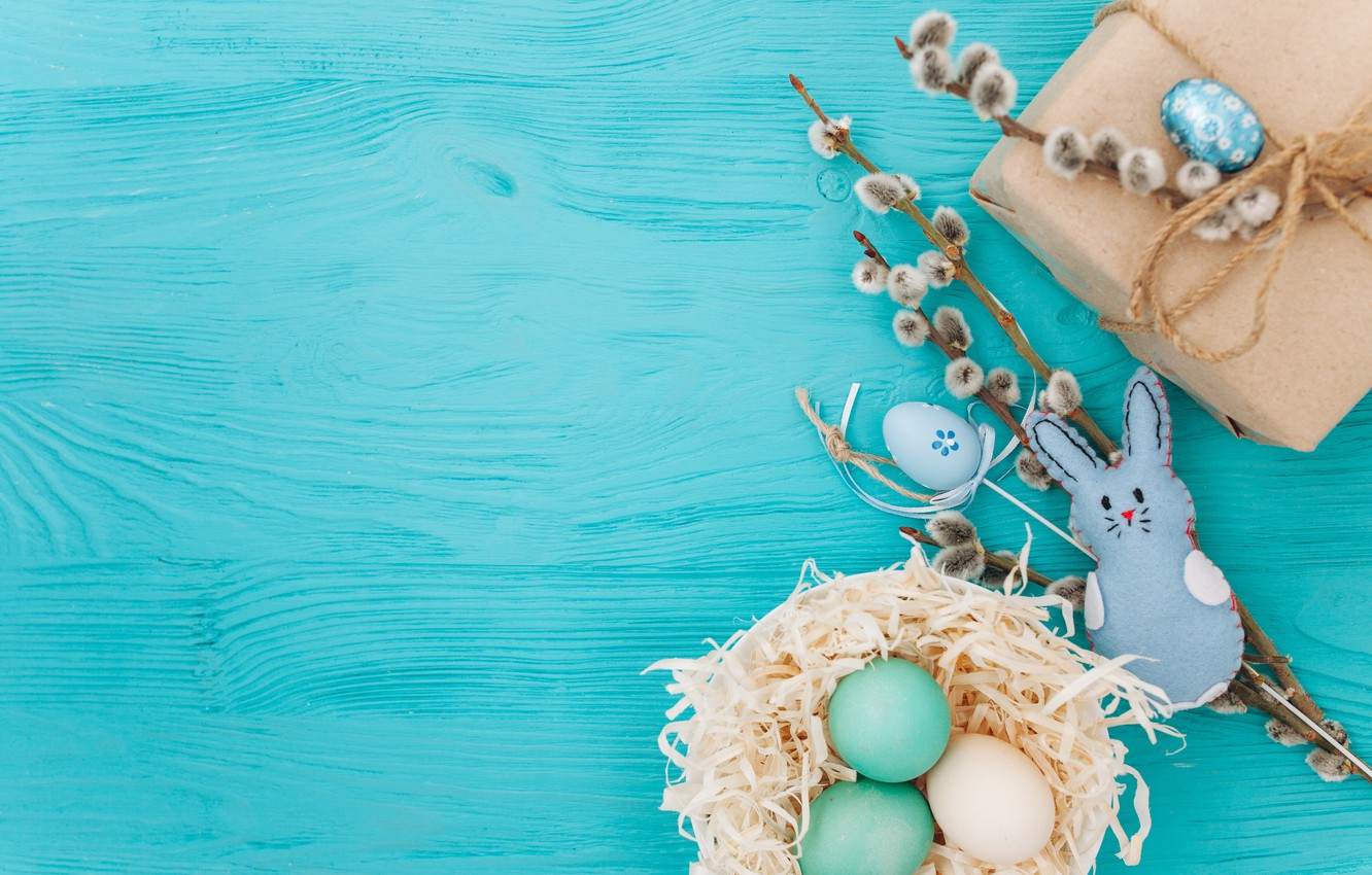 Photo wallpaper branches, gift, eggs, spring, Easter, wood, Verba, blue, gift, spring, Easter, eggs, decoration, Happy, tender
