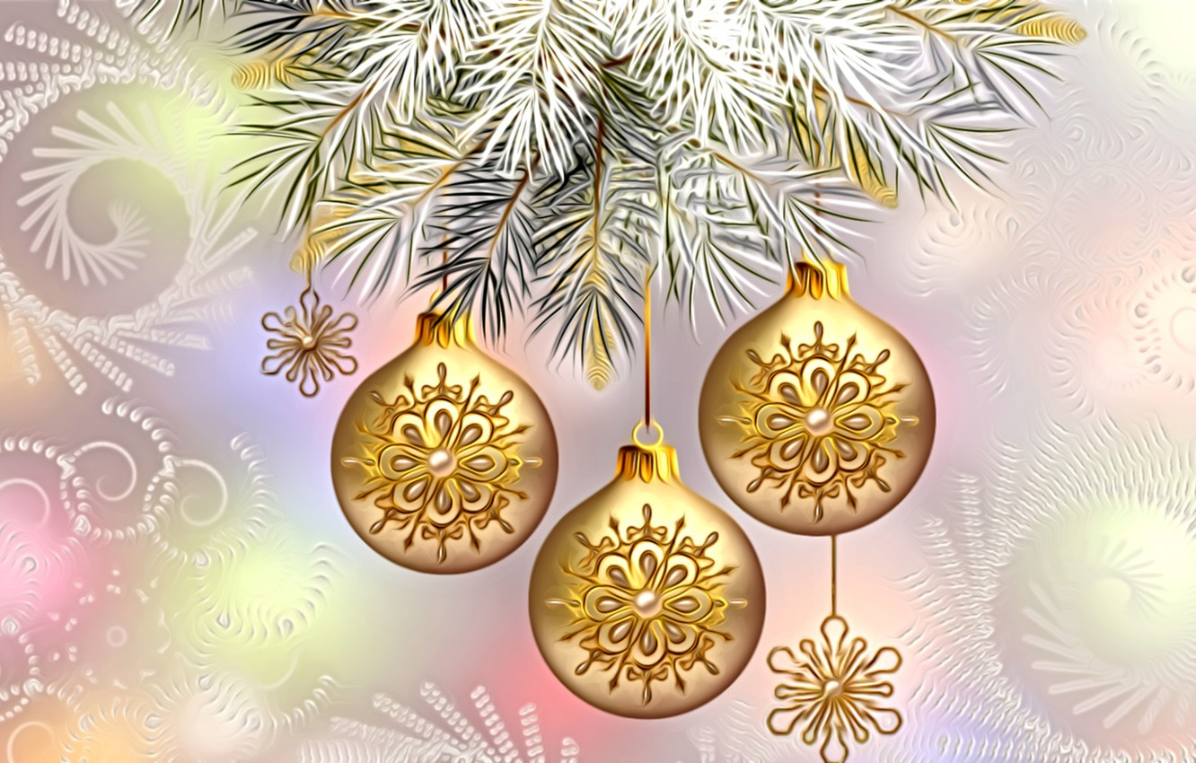 Photo wallpaper light, decoration, snowflakes, rendering, holiday, figure, New Year, spruce branch, gold beads