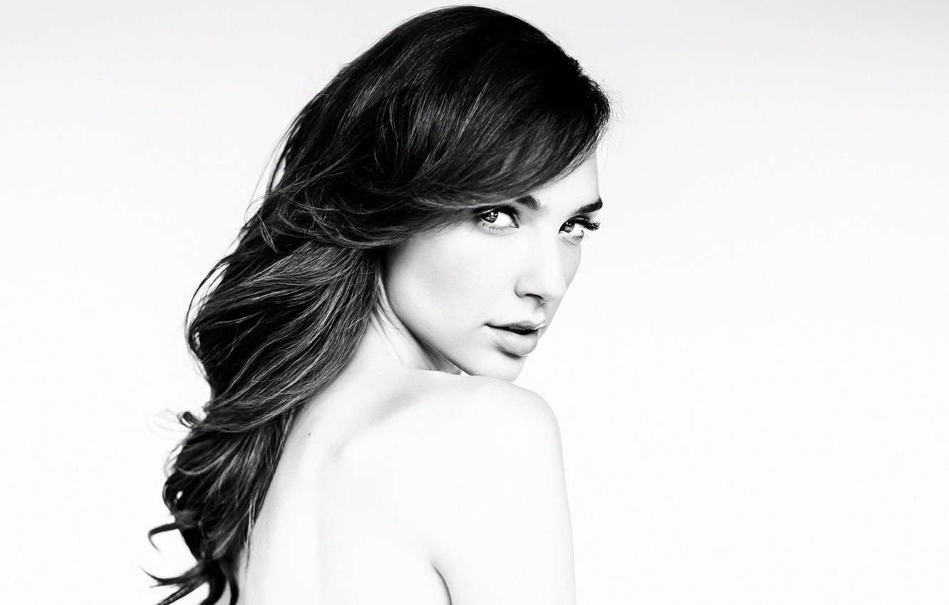 Photo wallpaper look, model, makeup, actress, brunette, hairstyle, white background, black and white, Gal Gadot, Gal Gadot