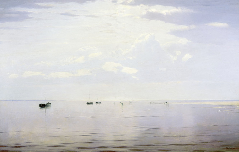 Photo wallpaper landscape, picture, boats, Nikolay Dubovskoy, On The Volga