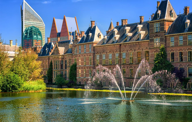 Photo wallpaper Netherlands, fountains, Holland, The Hague, The Hague, Binnenhof, Binnenhof palace