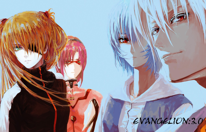 Photo wallpaper glasses, red, guy, red eyes, Neon Genesis Evangelion, Evangelion, blue hair, Asuka Langley Soryu, Rei …