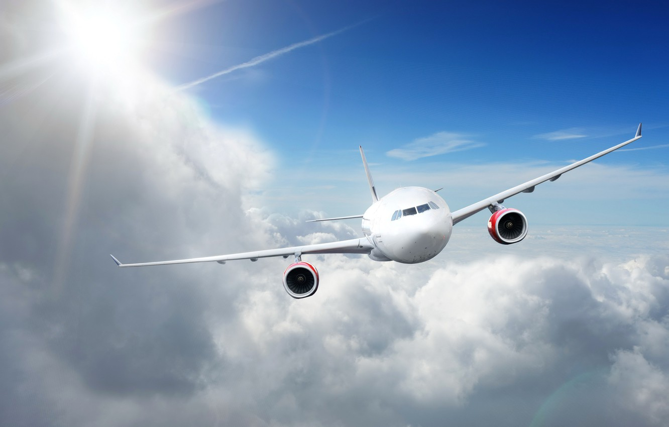 Photo wallpaper the sun, clouds, the plane, flies, in the sky, passenger, high