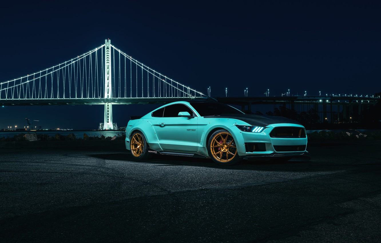 Photo wallpaper Mustang, Ford, Blue, Bridge, Night, Wheels, Rohana
