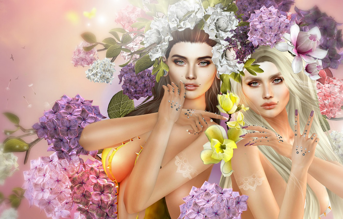 Photo wallpaper flowers, girls, art, two girls, hydrangea