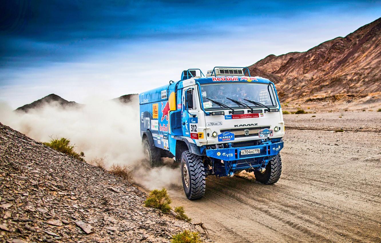 Photo wallpaper The sky, Sand, Nature, Dust, Sport, Speed, Race, Master, Hills, Beauty, Russia, Kamaz, Rally, Rally, …