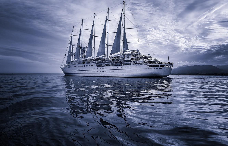 Photo wallpaper sea, ship, sails