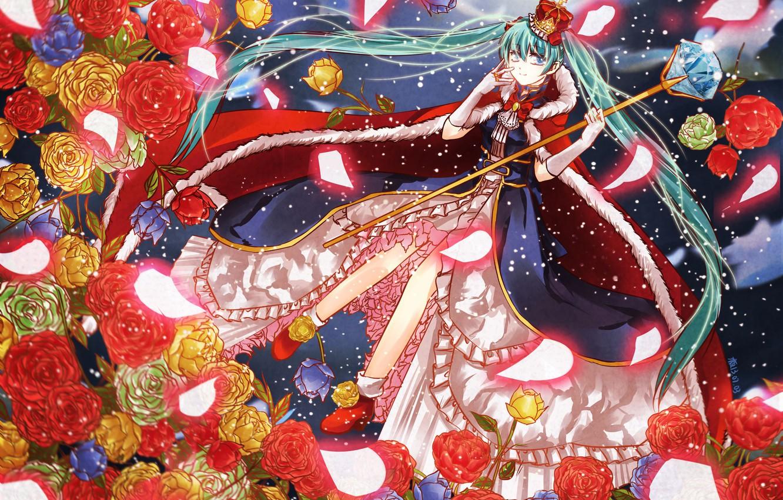 Photo wallpaper crystal, snow, magic, crown, mantle, vocaloid, rod, Hatsune Miku, Vocaloid, blue hair, crinoline, red roses