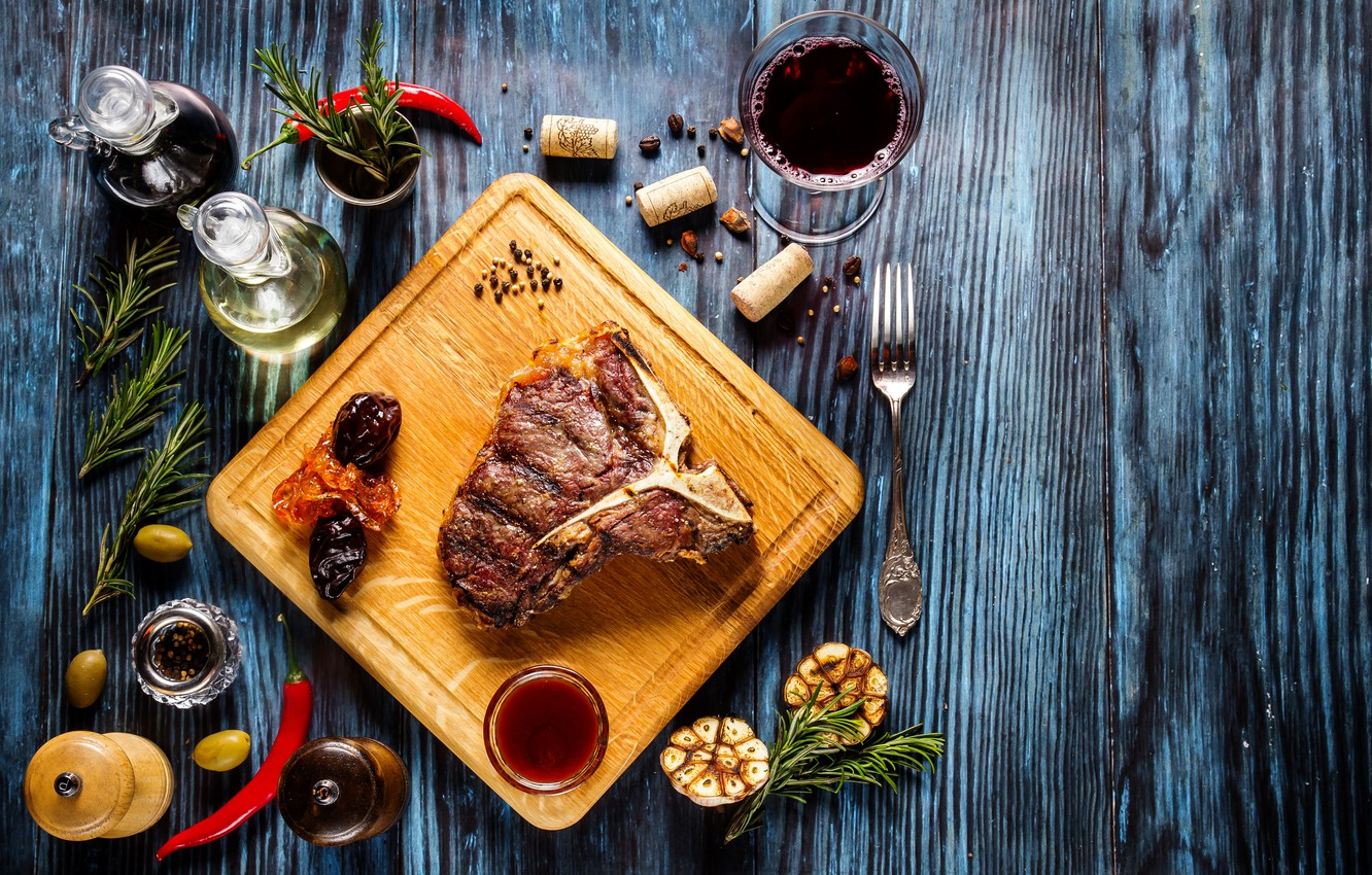 Photo wallpaper greens, wine, meat, sauce, wood, spices
