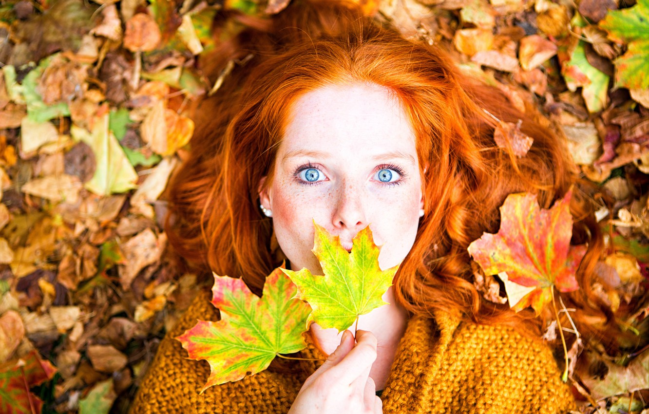 Photo wallpaper autumn, look, leaves, girl, makeup, hairstyle, lies, freckles, red, jacket, the view from the top, …