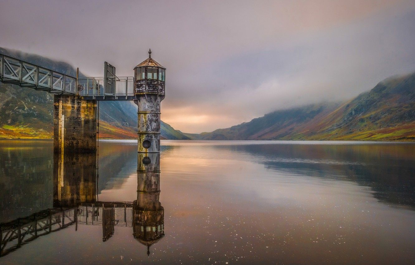 Photo wallpaper mountains, nature, lake, tower, Wales, Llyn Could
