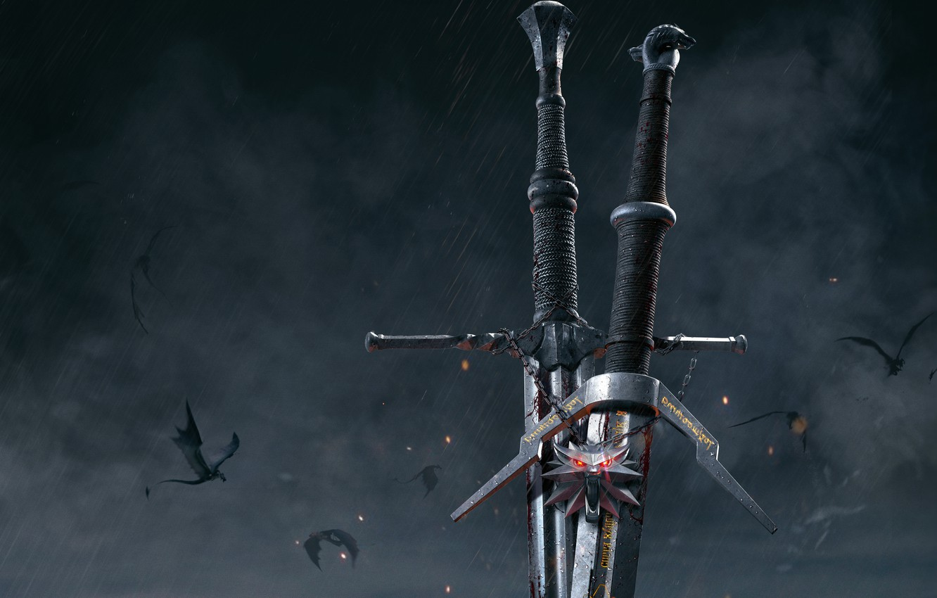 Photo wallpaper weapons, medallion, swords, The Witcher 3: Wild Hunt, The Witcher 3: Wild Hunt