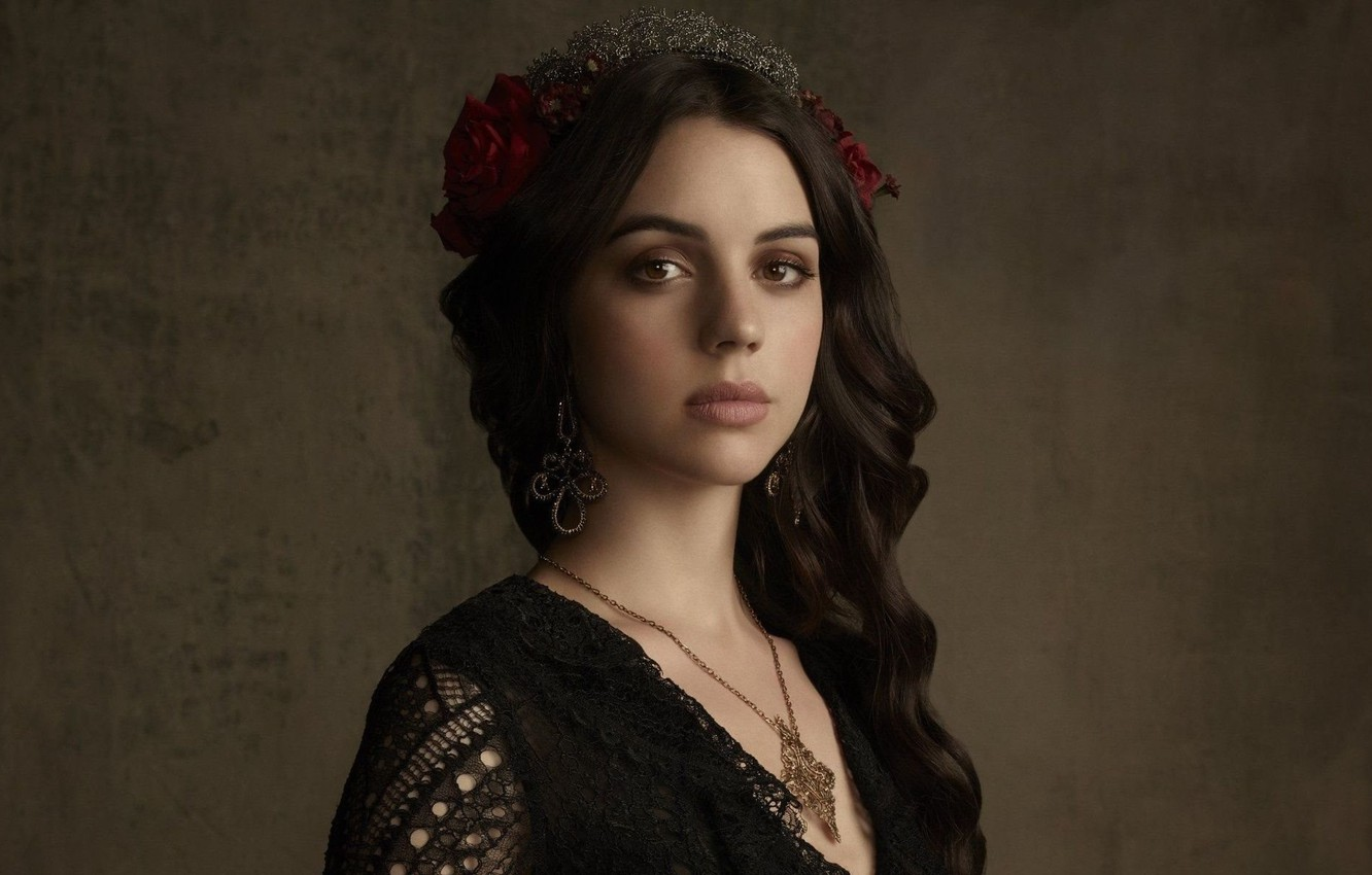 Photo wallpaper eyes, look, girl, decoration, rose, actress, brunette, the series, jewelry, brown, Reign, Adelaide, Kane, big …