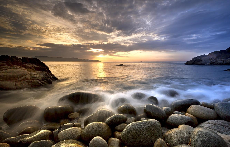 Photo wallpaper sea, beach, sunset, stones, Nature