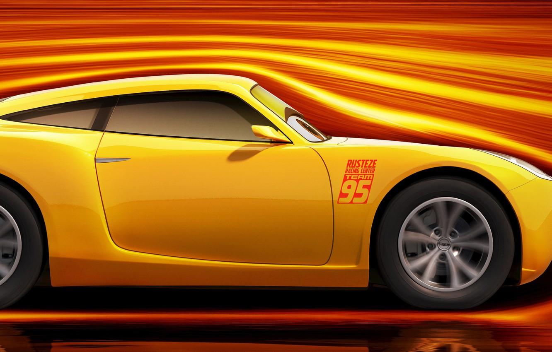 Wallpaper Car Disney Cars Yellow Race Speed Animated Film