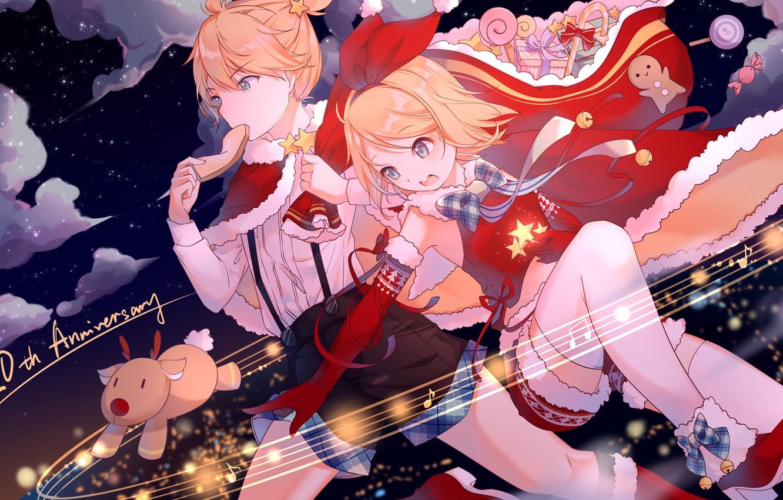 Photo wallpaper girl, anime, guy, two, Vocaloid, Vocaloid