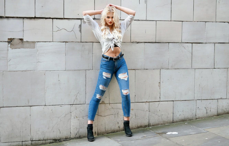 Photo wallpaper style, wall, model, jeans, blonde
