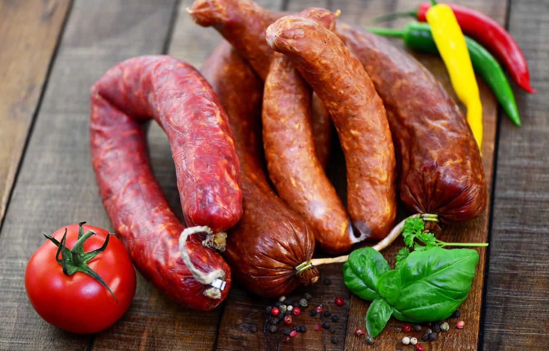 Photo wallpaper greens, pepper, tomato, sausage, spices, pepper, vegetables, spice, tomato, sausage