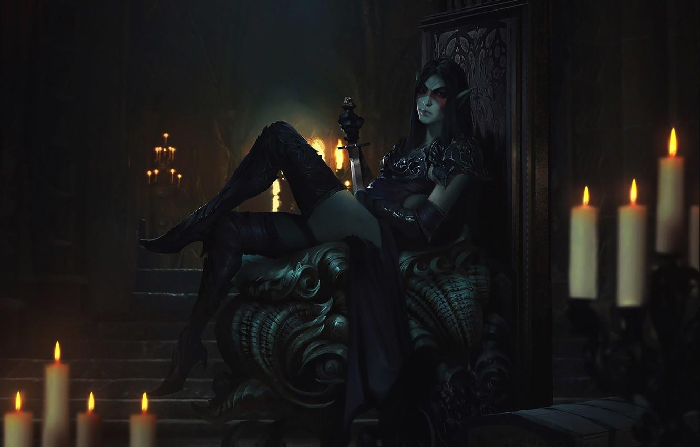 Photo wallpaper girl, feet, elf, character, The Elder Scrolls Legends