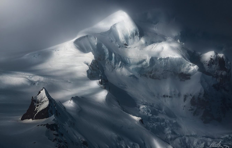 Photo wallpaper winter, snow, mountain, top