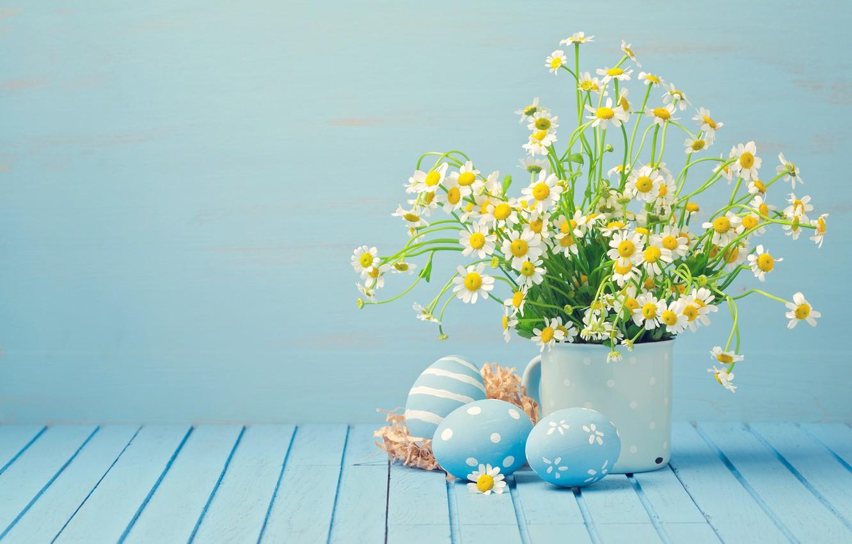 Photo wallpaper chamomile, eggs, Easter