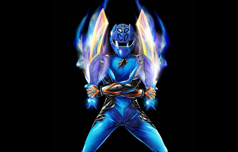 Photo wallpaper costume, black background, swords, swords, Power Rangers, Blue Ranger
