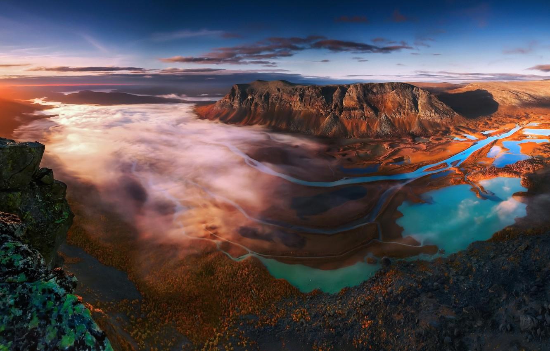 Photo wallpaper autumn, forest, clouds, mountains, fog, valley, Sweden, The Sarek national Park, Lappland