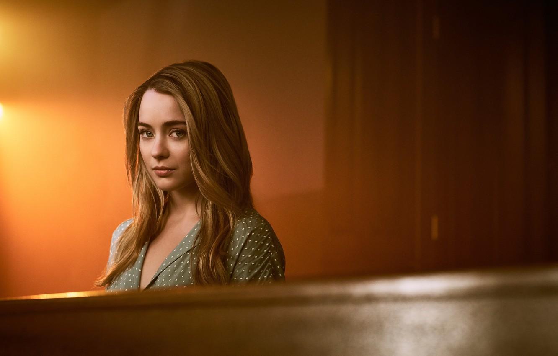 Photo wallpaper girl, long hair, woman, wood, blonde, tv series, The Exorcist, Hannah Helpful, Casey Rance